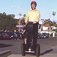 Professor Tom Flaherty on a Segway