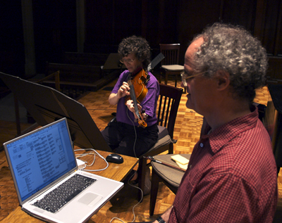 Tom Flaherty on Laptop and Cindy Fogg on Viola
